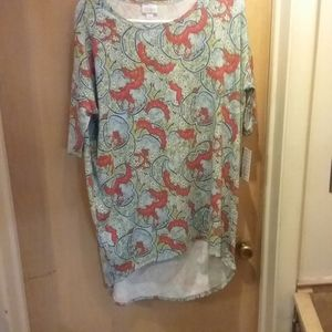 Lularoe light blue floral design womans shirt